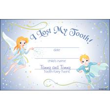 Tooth Fairy Twins Certificate, 8-1/2&#34; x 5-1/2&#34;, 100/Pkg