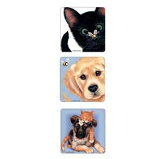 Sue Hall Stickers, 2-1/2&#34; W x 2-1/2&#34; H, Three Designs/Roll, 100/Roll