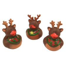 "Vinyl Reindeer Rubber Duckies, Assorted, 2"", 9/Pkg"