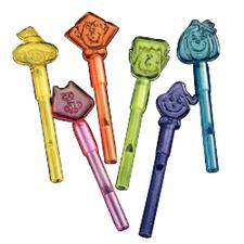 Halloween Character Plastic Whistles, Assorted, 4-1/2&#34;, 72/Pkg
