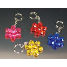 "Acrylic Flower Jewel Keychain, Assorted Colors, 1-3/4"", 12/Pkg"