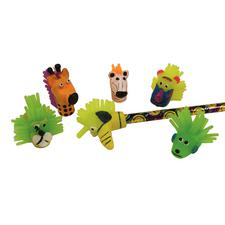 "Animal Pencil Tops, Assorted, 1-1/2"", 12/Pkg"