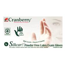 Cranberry Silkcare Latex Exam Gloves with Lanolin and Vitamin E - 100/Box, 10 Boxes/Case
