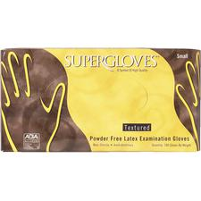 SUPERGLOVES  Latex Examination Gloves - Textured,  Powder Free, 100/Box