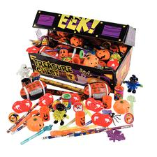 "Halloween Cardboard Treasure Chest Toy Assortment, 12"" x 7"" x 5"", 100 Assorted Pieces/Pkg"