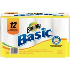 "Bounty Basic Paper Roll Towel, 52 Sheets/Roll, 12 Rolls/Ct, 11"" x 10.4"""