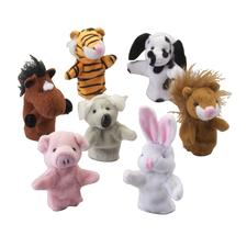 Plush Animal Finger Puppets, Assorted, 3&#34;, 12/Pkg