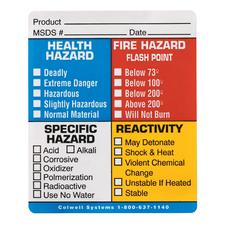 "Hazard Identification Mark-Off Label, 3"" W x 3-5/8"" H, 100/Roll"