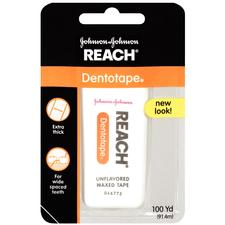 REACH® Dentotape® Waxed Floss – Unflavored, Refill, 100 yd