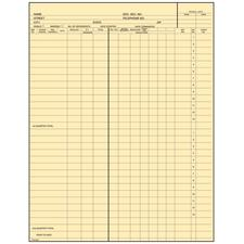 "Fold-A-Log Payroll Ledger Card, 8-1/2"" W x 11"" H, 15/Pkg"