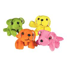 "Plush Dogs, Assorted Colors, 3-3/4"" W x 3"" H x 4"" D, 12/Pkg"