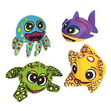 Sea-Life-Shaped Soaker Balls, Assorted, 3&#34; x 4&#34;, 12/Pkg