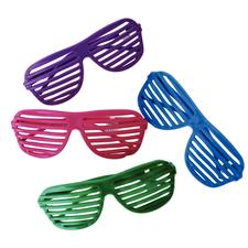 "Plastic Shutter Shade Sunglasses, Assorted Colors, 6"", 12/Pkg"