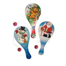 "Wooden Holiday Paddleball Games, Assorted, 9"", 12/Pkg"