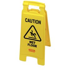 <DoubleLeftQuote/>Caution Wet Floor<DoubleRightQuote/> Safety Sign, Yellow, 11&#34; W x 25&#34; H (Open)