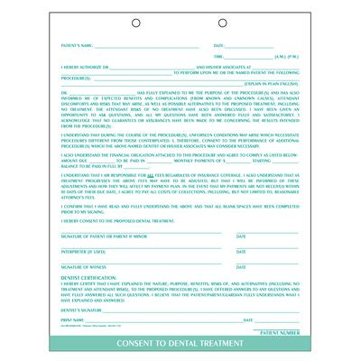 "Consent To Dental Treatment Form, Teal, 8-1/2"" W X 11"" H, 100/Pkg"
