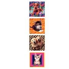 "Kitten and Puppy Stickers, 2-1/2"" W x 2-1/2"" H, Four Designs/Roll, 100/Roll"