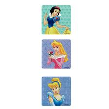"Princess Licensed Stickers, 2-1/2"" W x 2-1/2"" H, Six Designs/Roll, 100/Roll"