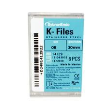 K-Files - 30 mm, acier inoxydable, manche de plastique à code de couleurs, 6 par emballage