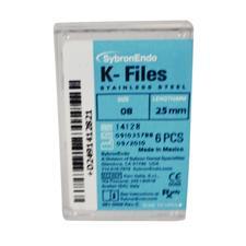 K-Files – 25 mm, acier inoxydable, manche de plastique à code de couleurs, 6/emballage