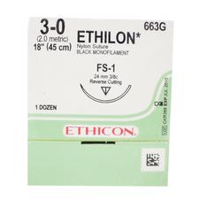 "ETHILON™ Nylon Black Monofilament Sutures Nonabsorbable – Reverse Cutting, 3/8 Circle, 18"", 12/Pkg"
