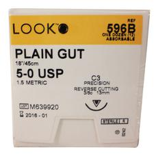 "LOOK™ Plain Gut Sutures Absorbable – Precision Reverse Cutting, C3, 3/8 Circle, 18"", 12/Pkg"