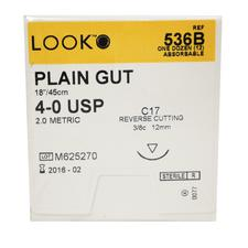 "LOOK™ Plain Gut Sutures Absorbable – Reverse Cutting, 18"", 12/Pkg"
