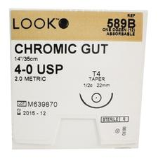 "LOOK™ Chromic Gut Sutures Absorbable – Taper Point, 1/2 Circle, 14"", 12/Pkg"