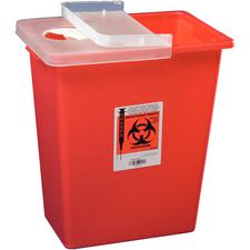SharpSafety™ Large Volume Sharps Containers – 8 Gallon, Red, Hinged Lid