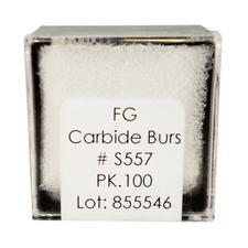 Tungsten Carbide Burs – HM 31S Straight Fissure Cross Cut FG, Size #557S, 1.0 mm Diameter, 100/Pkg