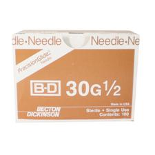 BD PrecisionGlide™ Luer-Lok® Needles – Regular, Plastic Hub, 100/Box