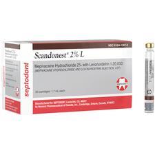Scandonest® 2% L Mepivacaine HCl 2% with Levonordefrin 1:20,000 – NDC 510041-097-08, 1.7 ml cartridge, 50/Pkg