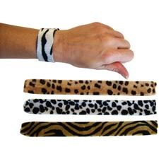 "Animal Print Slap Bracelets, 9"", Assorted, 12/Pkg"