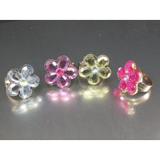 "Acrylic Flower Jewel Rings, Assorted Colors, 3/4"" Adjustable, 12/Pkg"