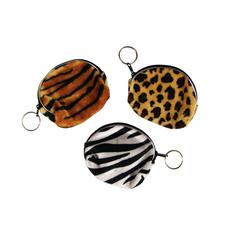 "Safari Print Purse with Keyring, Assorted, 4"", 12/Pkg"