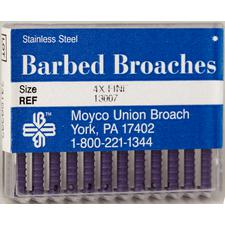 Barbed Broaches – Color-Coded Plastic Handle, Stainless Steel, 12/Pkg