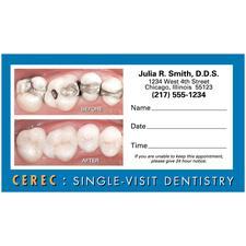 "CEREC Blue Border Before and After Appointment Card, 3-1/2"" W x 2"" H, 500/Pkg"