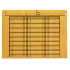 "Ledger-Ruled Kraft File Envelope, 11-3/4"" x 8-3/4"", 100/Box, 32 lb kraft"