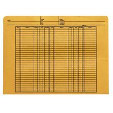 "Ledger-Ruled Kraft File Envelope, 11-3/4"" x 8-3/4"", 100/Box, 32 lb kraft"