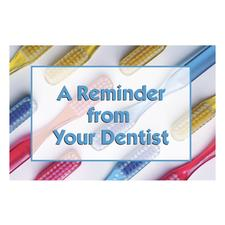 "A Reminder Toothbrushes English Version 3-Up Laser Postcard with Bookmark, 6"" W x 3-5/8"" H, 150/Pkg"