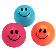 "Smile Face Bouncing Balls, Assorted Colors, 1"", 48/Pkg"