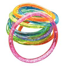 "Liquid-Filled Glitter Bracelets, Assorted Colors, Stretches 2-1/2"" to 3"", 12/Pkg"