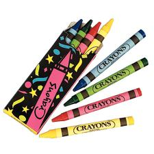 Crayons, Assorted Colors, 4 Crayons/Box; 24 Boxes/Pkg