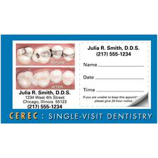 "CEREC Blue Border Before and After Sticker Appointment Card, 3-1/2"" W x 2"" H, 500/Pkg"