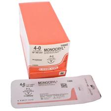 "MONOCRYL™ Sutures – Precision Point, P-3, Undyed Monofilament, Absorbable, Reverse Cutting, 3/8 Circle, Length 18"", 12/Box"
