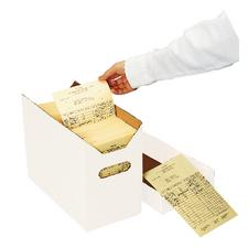 "Ledger Card Storage Box, 6-1/2"" W x 12-1/2"" L x 9-1/2"" D, Holds 1,200 5-1/2"" W x 8-1/2"" H Cards"