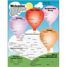 "Pediatric Patient Information, Balloons ColorForms™, 8-1/2"" W x 11"" H, 100/Pkg"