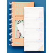 Tops Phone Call Book, White/Canary, 400 Sets/Book