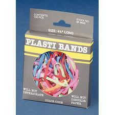 "Baumgarten's Plastibands, Assorted Colors, 4-1/4"", 100/Box"