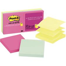 "Post-It® Pop-Up Marseille Notes, Assorted Colors, 100 Notes Per Pad, 3"" x 3"""